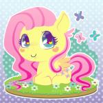 arthropod blue_eyes butterfly chibi cute cutie_mark equine female feral flower fluttershy_(mlp) friendship_is_magic fur grass hair happy insect low_res mammal miss-glitter_(artist) my_little_pony pattern_background pegasus pink_hair plant simple_background smile solo wings yellow_fur  Rating: Safe Score: 4 User: SwiperTheFox Date: November 05, 2015