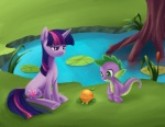 2012 amphibian aurarrius cub cutie_mark dragon equine female feral friendship_is_magic frog fruit green_eyes hair horn lily_pad male mammal multicolored_hair my_little_pony orange_(fruit) outside plant pond purple_eyes reed scalie shaded spike_(mlp) tree twilight_sparkle_(mlp) unicorn water young  Rating: Safe Score: 12 User: gfjkbdgfbg459yu4 Date: November 19, 2012""