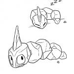 ambiguous_gender eyes_closed monochrome nintendo onix pokémon pokémon_(species) sleeping sound_effects unknown_artist video_games zzz