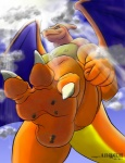 2011 3_toes anthro arokh_(artist) blue_eyes car charizard claws cloud crepuscular_rays dragon hi_res macro male membranous_wings muscular nintendo nipples orange_skin outside paws pecs plantigrade pokémon scalie simple_background sky smile soles solo stomping toe_claws toeprints toes vehicle video_games white_background wingsRating: SafeScore: 5User: DCB80Date: April 22, 2012