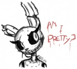ambiguous_gender animatronic anthro big_eyes creepy five_nights_at_freddy's five_nights_at_freddy's_3 girly jailbait_knight lagomorph machine mammal mechanical monochrome rabbit robot solo springtrap_(fnaf) text   Rating: Safe  Score: 12  User: Jailbait_Knight  Date: February 08, 2015