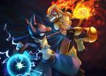 2014 ambiguous_gender anthro aura aura_sphere battle blue_eyes canine duo fangs fight fire hi_res infernape lucario mammal monkey nintendo open_mouth pokémon primate red_eyes spikes teeth video_games 鳥男   Rating: Safe  Score: 17  User: Mienshao  Date: September 02, 2014