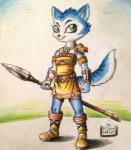 2015 anthro belt black_nose blue_fur boots bracers canine clothing dinosaur_planet female fox fur gem grass green_eyes jewelry krystal mammal markings necklace nintendo outside penmark polearm shoulder_pads signature smile solo spear staff star_fox tribal video_games weapon white_fur   Rating: Safe  Score: 4  User: Cαnε751  Date: May 10, 2015