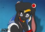 2020 blue_eyes breasts cleavage clothed clothing eyewear glasses lagomorph leporid mammal max_blackrabbit maxine_blackbunny rabbit sailor_moon_(character) sailor_moon_(series) sailor_moon_redraw_challenge sailor_uniform