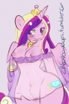 anthro anthrofied areola blush breasts clothed clothing crown cutie_mark dress english_text equine female friendship_is_magic hair half-closed_eyes half-dressed horn mammal my_little_pony nipples plain_background princess_cadance_(mlp) pussy rainbowclops royalty skimpy smile solo text translucent transparent_clothing two_tone_hair white_background wide_hips winged_unicorn wings   Rating: Explicit  Score: 12  User: EmoCat  Date: March 22, 2015