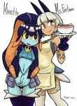 animal_ears apron blue_eyes blue_skin blush bowl cat clothes_swap dark_skin duo embarrassed feline fish food hair human mammal marine midriff minette ms._fortune pink_eyes scar skullgirls sweat wat_son_(artist) white_hair yellow_sclera   Rating: Safe  Score: 3  User: ROTHY  Date: March 29, 2015