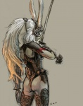animal_ears butt clothed clothing female final_fantasy final_fantasy_xii fran gloves lagomorph mammal masamune melee_weapon nekkeau rabbit skimpy solo sword thong video_games viera weapon  Rating: Questionable Score: 8 User: Sods Date: September 16, 2011""