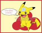 anime child-prodigy dialogue distracting_watermark english_text fandom feral fur male mammal nintendo note open_mouth pikachu pokémon rodent simple_background solo tape text tongue video_games watermark what yellow_background yellow_fur