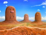 car cloud cosmo_(artist) day desert detailed_background diglett mountain nintendo outside plant pokémon road rock sky vehicle video_games