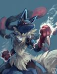 2015 ambiguous_gender canine energy fist fur looking_at_viewer lucario mammal mega_evolution mega_lucario nintendo pokémon red_eyes sa-dui solo spikes spread_legs spreading standing video_games   Rating: Safe  Score: 15  User: N7  Date: March 15, 2015