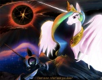 2015 armor blue_hair crown duo equine feathered_wings feathers female feral friendship_is_magic fur green_eyes hair helmet horn jewelry mammal moon multicolored_hair my_little_pony necklace nightmare_moon_(mlp) nightshroud princess_celestia_(mlp) princess_luna_(mlp) purple_eyes sky white_feathers white_fur winged_unicorn wings  Rating: Safe Score: 4 User: ConsciousDonkey Date: January 15, 2016