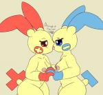 2018 afriendofminefromschool anthro blue_eyes breasts duo female female/female french_kissing hi_res kissing minun navel nintendo nipples plusle pokémon pokémon_(species) red_eyes saliva side_view simple_background video_games