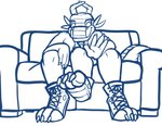 3_legs absurd_res anthro clothing dexthedragon dragon foot_focus footwear furniture hi_res horn male multi_leg multi_limb shoes sitting sofa solo thick_tail