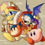 alien anthro armor avian bandanna bird black_eyes blue_eyes blush clothing coat english_text gloves group hammer hat king_dedede kirby kirby_(series) male mask melee_weapon meta_knight nintendo penguin polearm smile spear sword text tools unknown_artist video_games waddle_dee weapon wings winter_coat yellow_eyes  Rating: Safe Score: 1 User: Cαnε751 Date: November 19, 2015