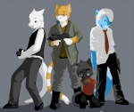 anthro arkaid bill cat feline francis grey_background group gun holding holding_weapon left_4_dead_(series) louis male mammal ranged_weapon simple_background valve video_games weapon young zoey  Rating: Safe Score: 10 User: TheDeckers Date: October 28, 2012