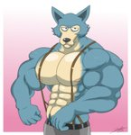 anthro beastars biceps big_muscles canid canine canis clothed clothing hi_res jabuhusky legoshi_(beastars) male mammal muscular muscular_anthro muscular_male nipples pecs solo suspenders swol wolf