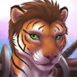 2015 anthro armor brown_hair bust_portrait close-up digital_media_(artwork) eye_contact feline green_eyes hair khajiit looking_at_viewer male mammal pink_nose short_hair solo stripes the_elder_scrolls tiger video_games weapon whiskers zen  Rating: Safe Score: 36 User: KhraymTheCheetah Date: January 17, 2015