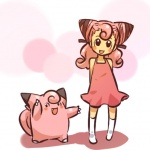 alternate_species clefairy clothing cosplay dress duo female feral hair hitec human humanized legwear long_hair mammal nintendo open_mouth pink_hair pokémon stockings video_games waddling_head