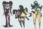big_breasts black_hair breasts butt clothing cofagrigus female footwear gothitelle group hair hi_res high_heels humanoid kemono legwear liveforthefunk mammal mawile nintendo not_furry pokémon pokémorph shoes simple_background thick_thighs video_games