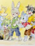 2015 anthro blue_eyes blue_fur blush canine chest_tuft clothed clothing cub dog frown fur green_eyes green_fur green_hair grey_fur group hair hair_tuft hi_res kemono lagomorph looking_back male mammal open_mouth orange_fur phthalo_cyanin rabbit red_eyes shirt shorts sitting smile standing sweat sweatdrop tank_top teeth tongue traditional_media_(artwork) tuft watercolor_(artwork) whiskers white_fur young  Rating: Safe Score: 1 User: atatat Date: August 28, 2015