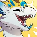 2018 ambiguous_gender blitzdrachin crown dragon eyes_closed eyewear fur furred_dragon gem glasses happy icon laugh low_res malik open_mouth reaction_image solo teeth tongue tongue_out white_fur