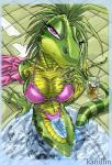 anthro bath bikini breasts clothed clothing female green_body iguana kandlin lizard looking_at_viewer nails navel pool portrait purple_eyes reptile scalie skimpy solo swimsuit tight_clothing water   Rating: Questionable  Score: 17  User: Arkham_Horror  Date: May 11, 2015