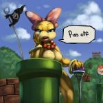 anthro bored bow breasts claws dialogue drxsmokey english_text female flag flora_fauna hand_on_chin koopa koopalings leaning_on_elbow looking_at_viewer mario_bros necklace nintendo nude open_mouth outside piranha_plant plant reaction_image scalie sharp_claws solo speech_bubble standing talking_to_viewer teeth text video_games warp_pipe wendy_o_koopa   Rating: Questionable  Score: 30  User: DarkToad  Date: July 24, 2014
