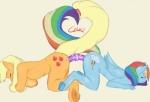 2013 anthro anthrofied applejack_(mlp) blonde_hair blue_fur breasts chrnos cutie_mark dildo double_dildo duo equine eyes_closed female female/female friendship_is_magic fur hair horse mammal multicolored_hair my_little_pony orange_fur pegasus plain_background pony rainbow_dash_(mlp) rainbow_hair sex_toy sweat wings   Rating: Explicit  Score: 18  User: lemongrab  Date: January 07, 2014