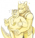 blush boar botan_akagane clothing dragon fangs gay looking_back male morenatsu porcine scalie tappei undressing unknown_artist   Rating: Questionable  Score: 5  User: drafan5  Date: July 15, 2013