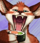 2018 acidic anthro bodily_fluids conditional_dnp dipodid fangs fluffy food green_eyes happy hi_res jerboa makizushi male mammal mouth_shot open_mouth rice rodent saliva saliva_on_tongue seaweed sol_(luvdiz) solo sushi teeth throat tongue uvula whiskers