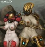 2015 abs absurd_res alien anthro armor armpits bdsm big_breasts bondage bound breasts da_polar_inc duo female freckles halo_(series) hands_behind_head helmet hi_res human mammal muscular muscular_female navel nipples pussy sangheili spots thick_thighs video_games wide_hips  Rating: Explicit Score: 70 User: JG-Draws Date: December 20, 2015