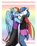 2015 anthro anthrofied blue_hair blush clothed clothing collar duo ear_piercing elbow_gloves equine female female/female fingerless_gloves friendship_is_magic fully_clothed gloves hair horn kissing krd makeup mammal multicolored_hair my_little_pony pegasus piercing pride_flag rainbow_dash_(mlp) rainbow_flag rainbow_hair rainbow_symbol rubber tears unicorn vinyl_scratch_(mlp) wings  Rating: Safe Score: 4 User: 2DUK Date: May 25, 2015""