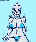 angstrom animated_skeleton anthro big_breasts bikini blue_background blue_eyes blush bone breasts cleavage clothed clothing crossgender female gaster_blaster glitch simple_background skeleton skull solo swimsuit undead undertale video_games  Rating: Questionable Score: 8 User: ROTHY Date: January 26, 2016