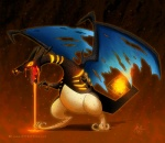 ambiguous_gender charizard crossover dragon feral fire fire_breathing flaming_tail heartless kingdom_hearts lava membranous_wings nintendo orange_background orange_theme ottbettina pokémon scalie simple_background solo square_enix video_games wings