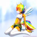 animal_humanoid bra breasts clothed clothing feathered_wings feathers female friendship_is_magic fully_clothed humanoid legwear mammal my_little_pony navel portrait rainbow_dash_(mlp) rockarboom shorts simple_background small_breasts sports_bra stockings sunlight thigh_highs underwear winged_humanoid wingsRating: SafeScore: 7User: Warut_The_FoxDate: July 13, 2018