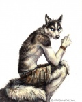 2015 anthro black_fur blue_eyes bracelet canine cigarette claws clothed clothing dog fur half-dressed husky jewelry kenket looking_back male mammal plain_background rock shorts sitting solo topless underwear white_background white_fur   Rating: Safe  Score: 11  User: TheGreatWolfgang  Date: April 21, 2015