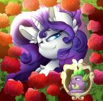 2016 absurd_res blue_eyes dragon equine female feral flower friendship_is_magic green_eyes hair half-closed_eyes hi_res horn long_hair looking_at_viewer madacon mammal my_little_pony open_mouth plant purple_hair rarity_(mlp) rose scalie smile spike_(mlp) unicorn  Rating: Safe Score: 9 User: lemongrab Date: January 17, 2016