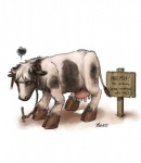 all_fours bones_(artist) bovine cattle cloven_hooves english_text female hooves humor mammal pun sign solo teats text transformation udders   Rating: Safe  Score: 4  User: StuffedShirt  Date: August 12, 2014