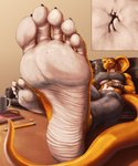 2020 5_toes absurd_res anthro big_breasts breasts canid canine claws duo feet female foot_focus fox furniture hi_res humanoid_feet macro mammal micro micro_on_macro mtfoxx muscular muscular_anthro muscular_female nano reptile scalie shanika size_difference snake soles table toe_claws toes unaware under_boob workout_clothing