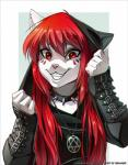 2014 anthro arm_warmers buckle cat clothed clothing collar cute feline female fur hair happy heartagram long_hair looking_at_viewer mammal melloque metal piercing red_eyes red_hair seelena_zorn smile solo spiked_collar teeth white_fur  Rating: Safe Score: 157 User: Arkham_Horror Date: November 05, 2014