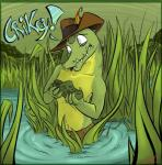 anthro australia australian bylika190 caiman crikey crocodilian crocs detailed_background diego feathers hat hi_res humor male nature outside reptile scalie solo steve_irwin swamp water wet