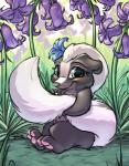 bambi_(film) blue_eyes bluebelle carrot_(artist) cub cute digital_media_(artwork) disney female feral flower flower_in_hair grass looking_at_viewer mammal pawpads paws plant sitting skunk smile solo tail_hug young  Rating: Safe Score: 15 User: slyroon Date: January 01, 2016