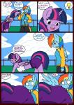 all_fours ass_up blood butt clothed clothing comic english_text equine eyes_closed feathered_wings feathers female friendship_is_magic hair hi_res horn linedraweer lyndor mammal multicolored_hair my_little_pony open_mouth pegasus rainbow_dash_(mlp) speech_bubble teeth text tongue twilight_sparkle_(mlp) wing_boner winged_unicorn wings  Rating: Questionable Score: 8 User: JGG3 Date: April 17, 2016