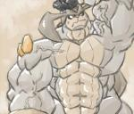2014 abs anthro anthrofied armpits biceps big_biceps colored digital_drawing_(artwork) digital_media_(artwork) front_view frown hyper hyper_muscles legendary_pokémon light looking_away low_res male manly muscular muscular_male navel nintendo nude obliques pecs pinup pokémon pokémorph pose schwartzgeist serratus shaded simple_background solo standing tan_background terrakion toony two_tone_body vein video_games yellow_eyes