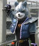 anthro belt black_nose canine claws clothing collar cosplay eyewear fence fur furinchime fursuit gloves grey_eyes grey_fur gun handgun jacket male mammal necklace nintendo ranged_weapon shoulder_pads solo spikes star_fox teeth video_games watermark weapon white_fur wolf wolf_o'donnell  Rating: Safe Score: 26 User: Cαnε751 Date: May 13, 2015""