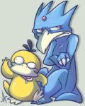 ambiguous_gender avian bird blue_feathers duck duo golduck nintendo open_mouth pokémon psyduck red_eyes saliva vaporotem video_games yellow_feathers   Rating: Safe  Score: 1  User: DeltaFlame  Date: February 24, 2015