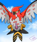 2014 animal_genitalia avian bird blush cloaca cloud cloudscape condom condom_in_mouth cum erection feather feral filled_condom flying front_view looking_at_viewer male nintendo outside penis pokémon rio_(artist) sky solo talonflame talons tapering_penis video_games wings   Rating: Explicit  Score: 7  User: Jugofthat  Date: September 24, 2014