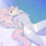 2020 anthro apple-faced blue_eyes blue_hair brown_hair bulge clothing digital_media_(artwork) equid equine finger_to_mouth hair hi_res horse legwear leotard long_hair looking_at_viewer lying male mammal multicolored_hair on_back purple_hair signature simple_background solo thigh_highs