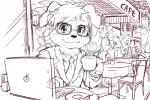 anthro background_characters business_suit cafe canine clothed clothing coronta_(tenshoku_safari) cup dog eyewear fur glasses hair macbook male mammal maruyama_(artist) napkin_holder necktie official_art saucer sketch suit tenshoku_safariRating: SafeScore: 4User: GomenNe3939Date: December 06, 2017