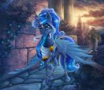 2016 blue_eyes blue_hair clothing equine eyeshadow feathered_wings feathers female friendship_is_magic gor1ck hair hi_res horn looking_at_viewer makeup mammal my_little_pony princess_luna_(mlp) solo sparkles winged_unicorn wings  Rating: Safe Score: 17 User: 2DUK Date: May 01, 2016